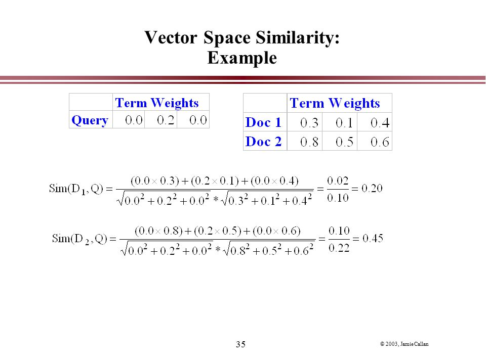 Vector Space Similarity: Example