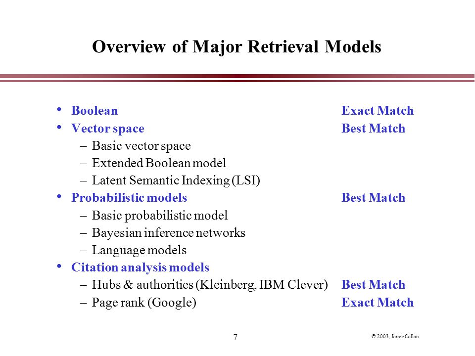 Overview of Major Retrieval Models