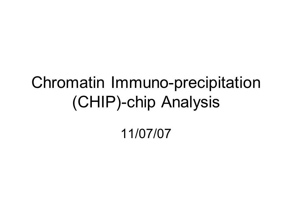 Chromatin Immuno-precipitation (CHIP)-chip Analysis