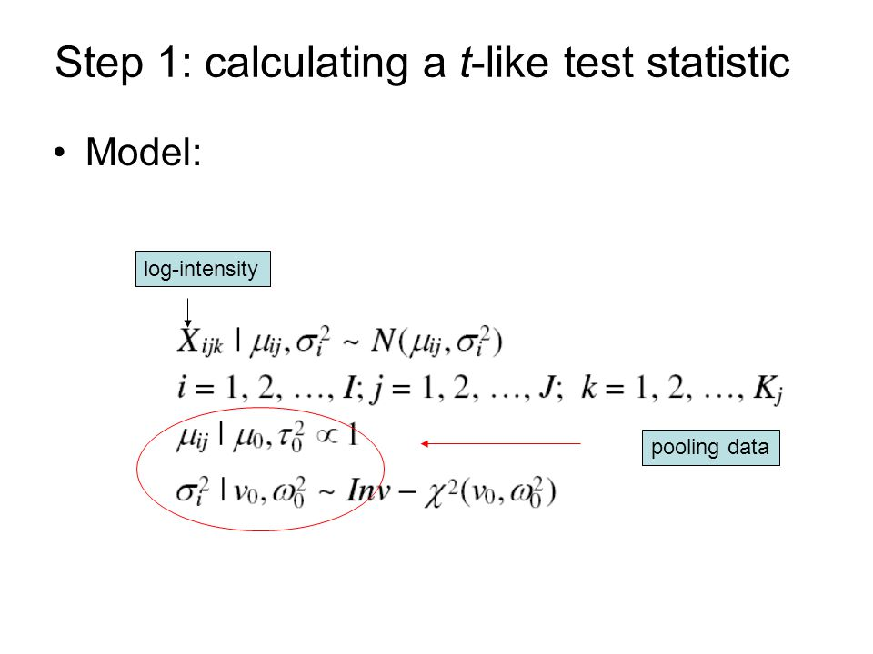 Step 1: calculating a t-like test statistic