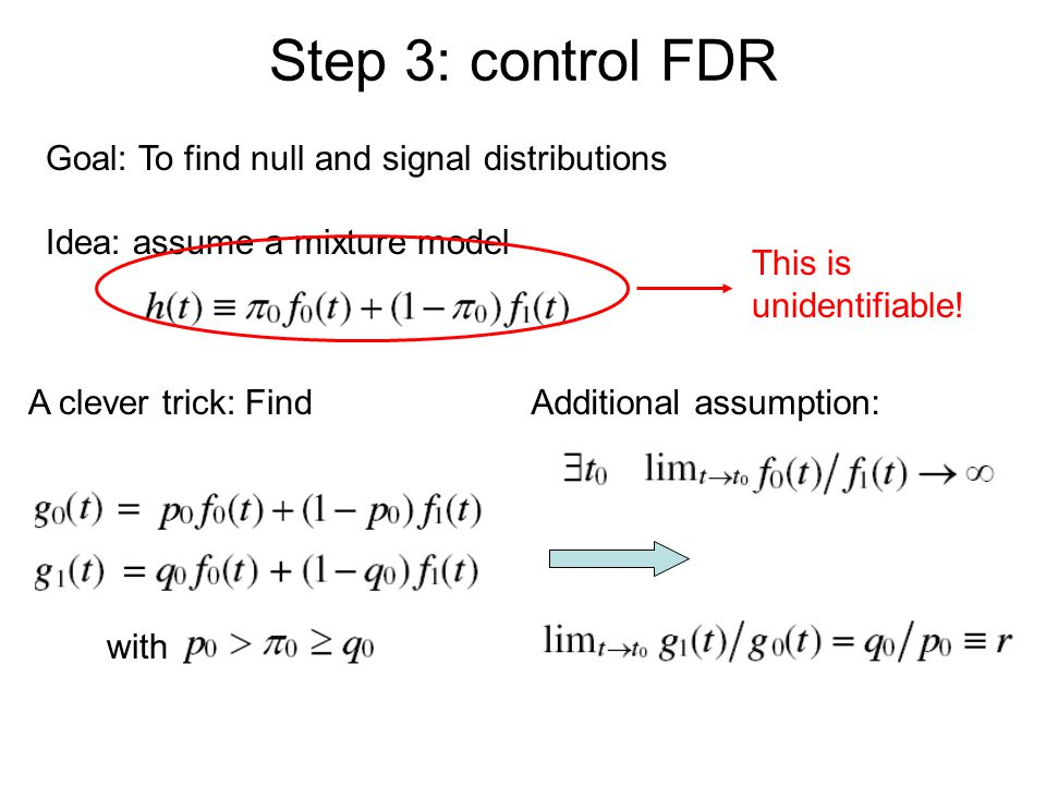 Step 3: control FDR Goal: To find null and signal distributions