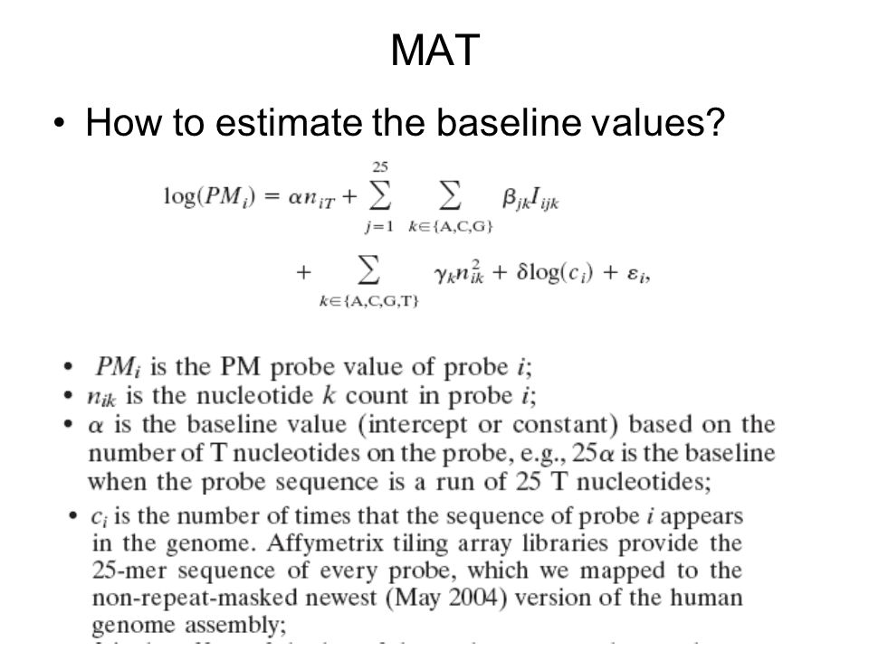 MAT How to estimate the baseline values