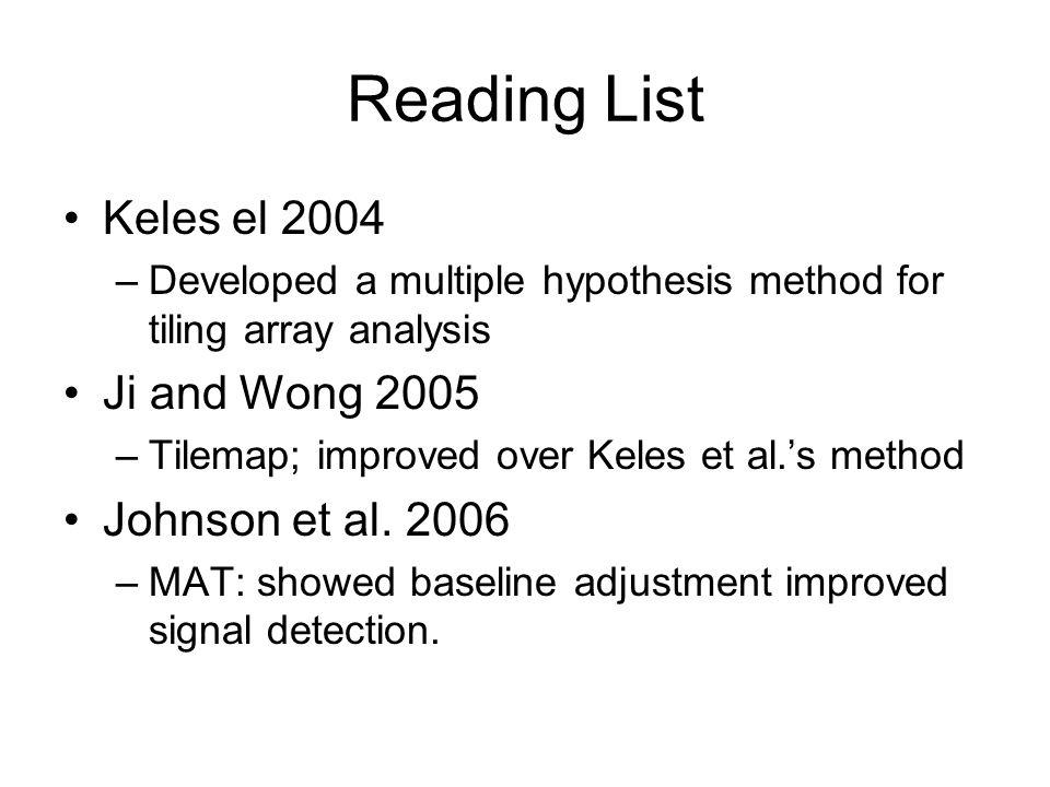 Reading List Keles el 2004 Ji and Wong 2005 Johnson et al. 2006
