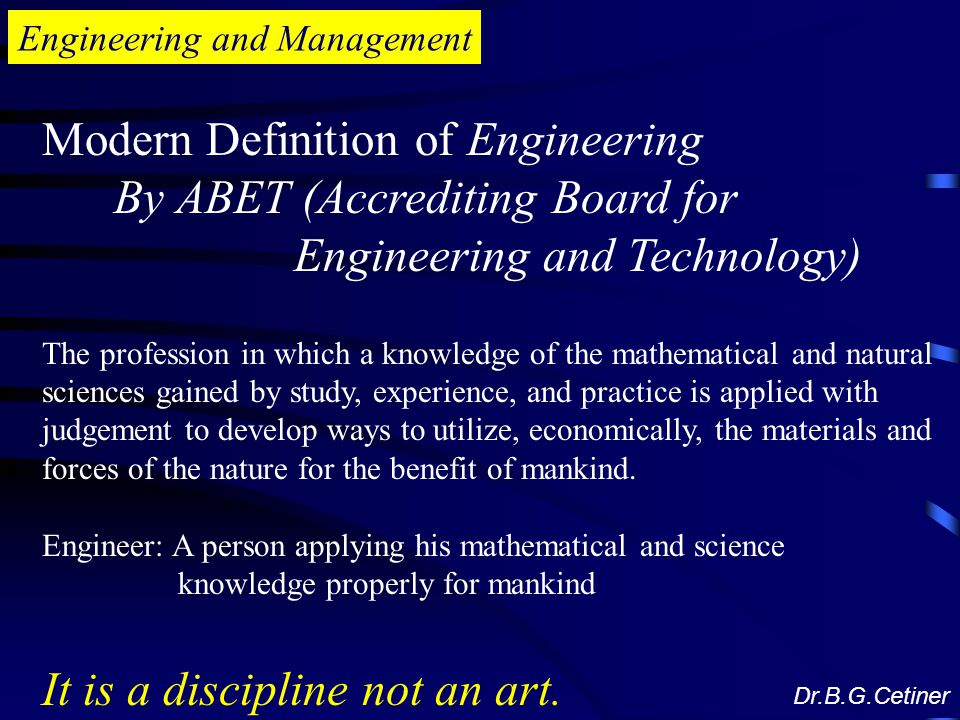 Modern Definition of Engineering By ABET (Accrediting Board for