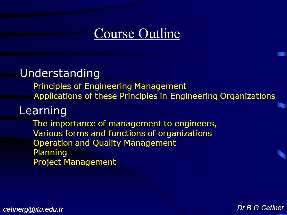 Course Outline Understanding Learning