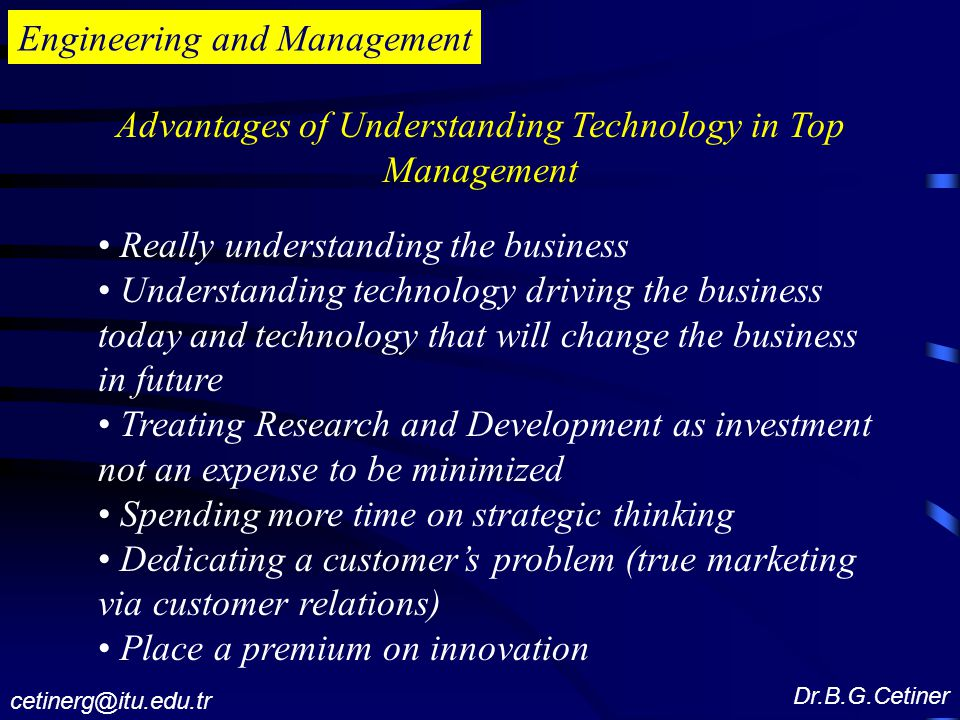Advantages of Understanding Technology in Top Management