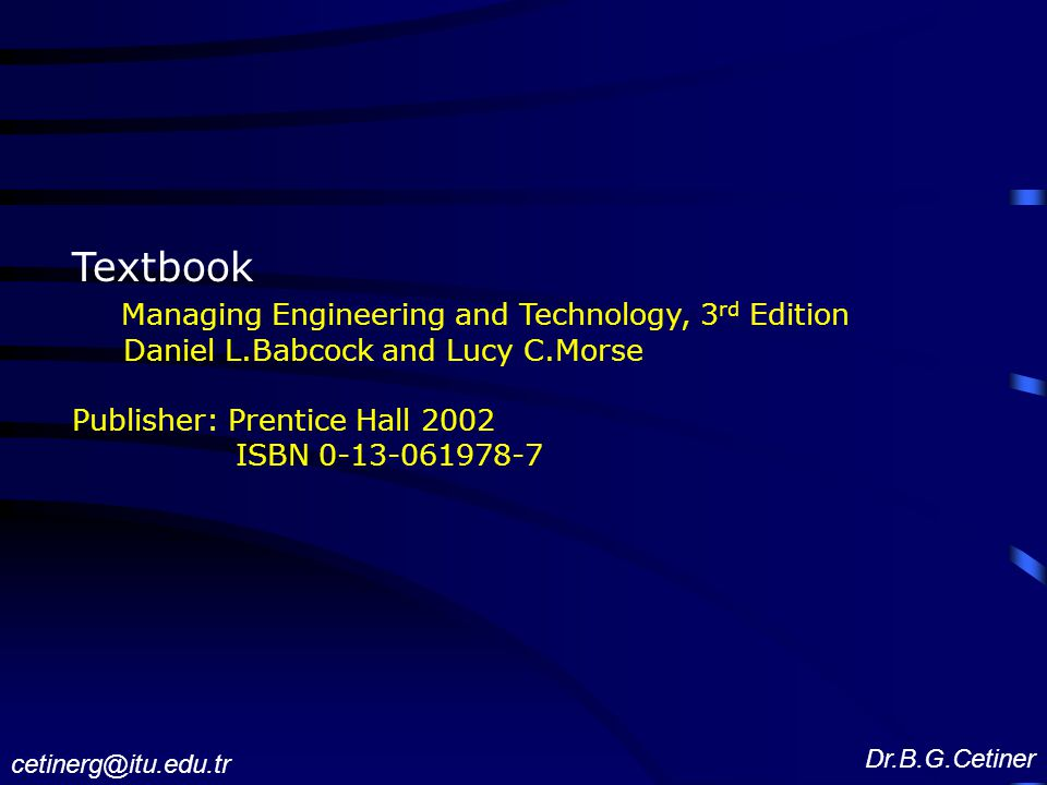 Textbook Managing Engineering and Technology, 3rd Edition