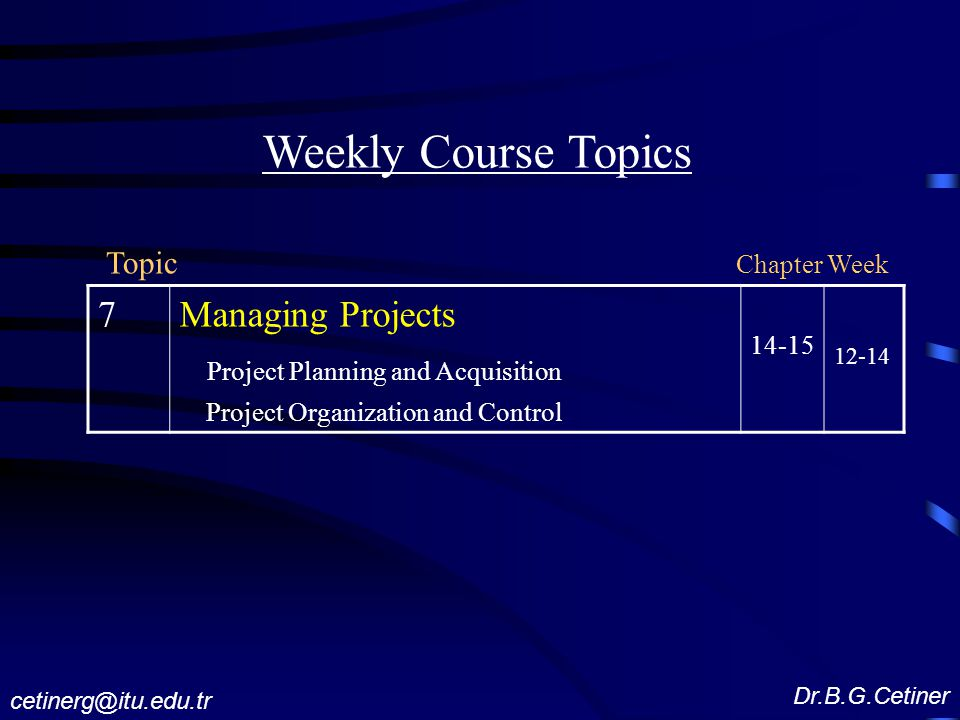 Weekly Course Topics 7 Managing Projects