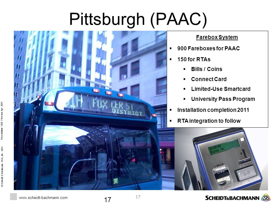Pittsburgh (PAAC) Farebox System 900 Fareboxes for PAAC 150 for RTAs