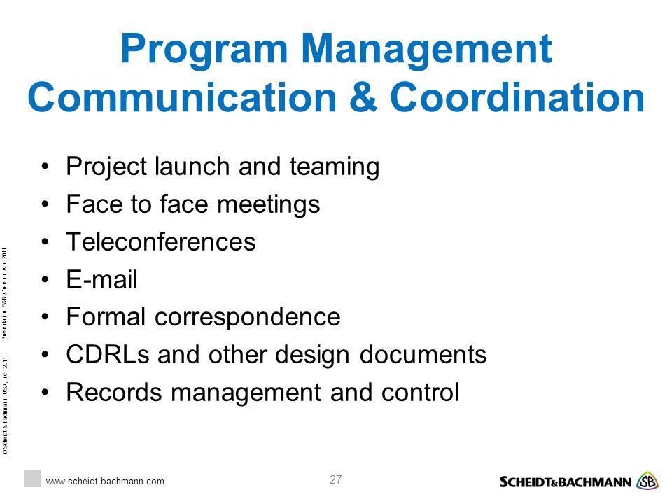 Program Management Communication & Coordination