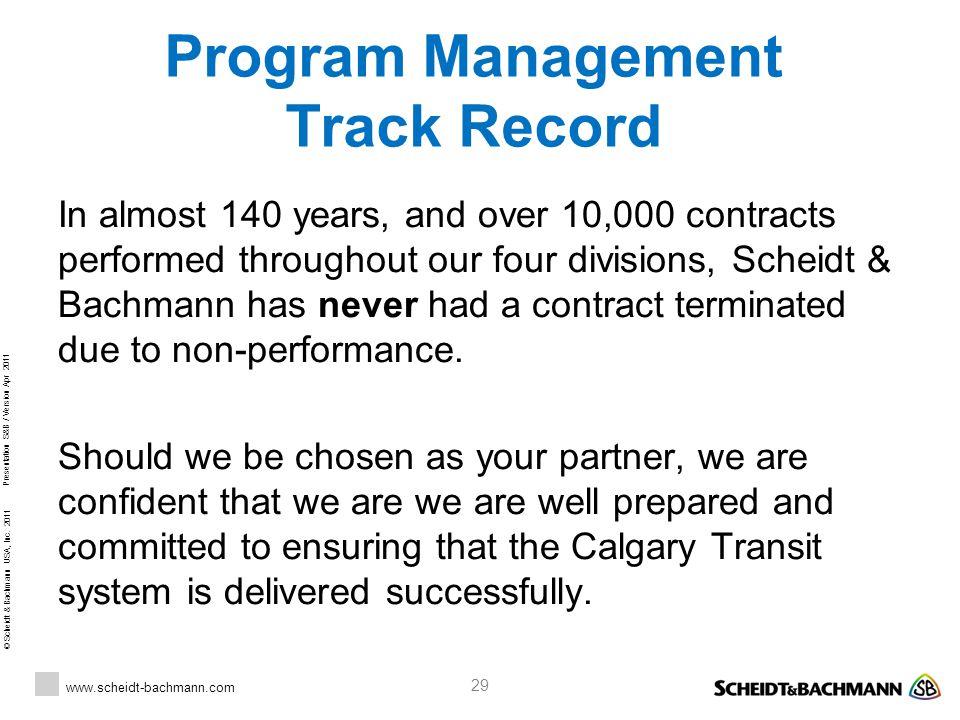 Program Management Track Record