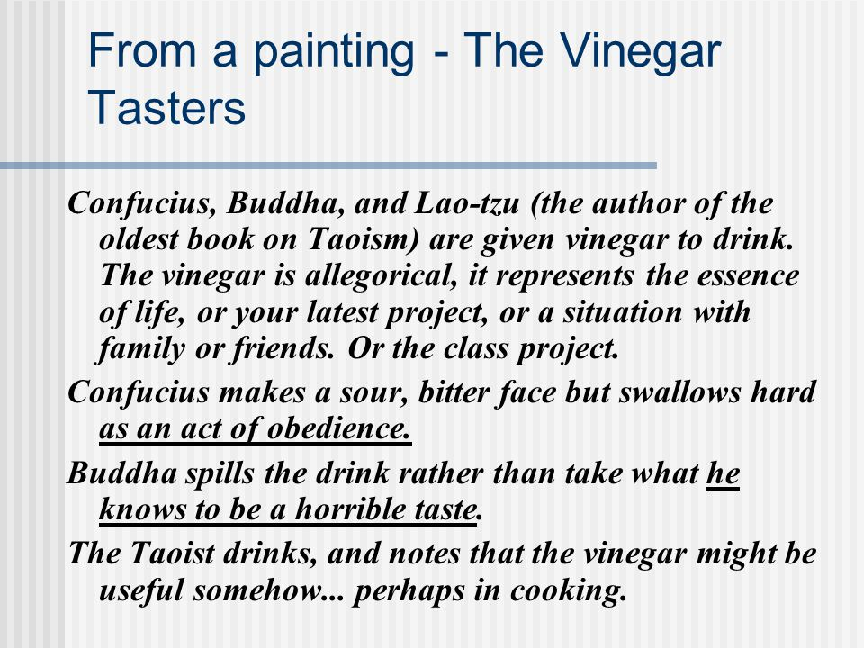 From a painting - The Vinegar Tasters