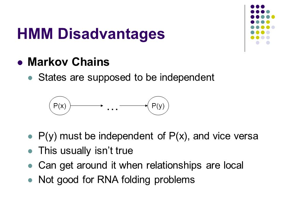 HMM Disadvantages … Markov Chains
