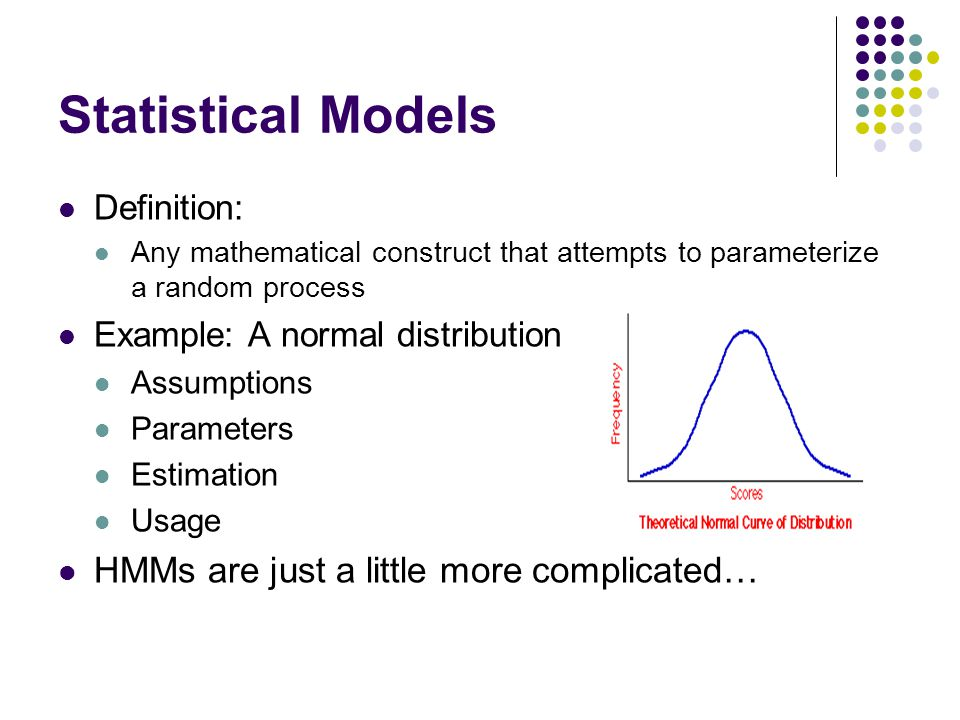 Statistical Models HMMs are just a little more complicated…