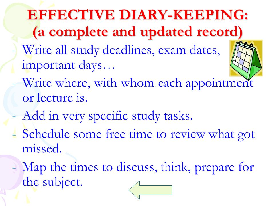 EFFECTIVE DIARY-KEEPING: (a complete and updated record)