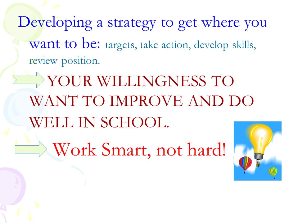 Developing a strategy to get where you want to be: targets, take action, develop skills, review position.