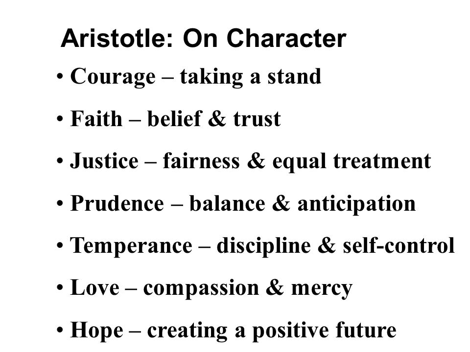 Aristotle: On Character