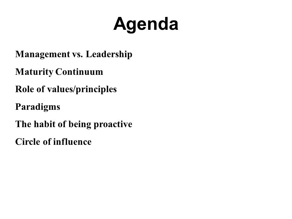 Agenda Management vs. Leadership Maturity Continuum