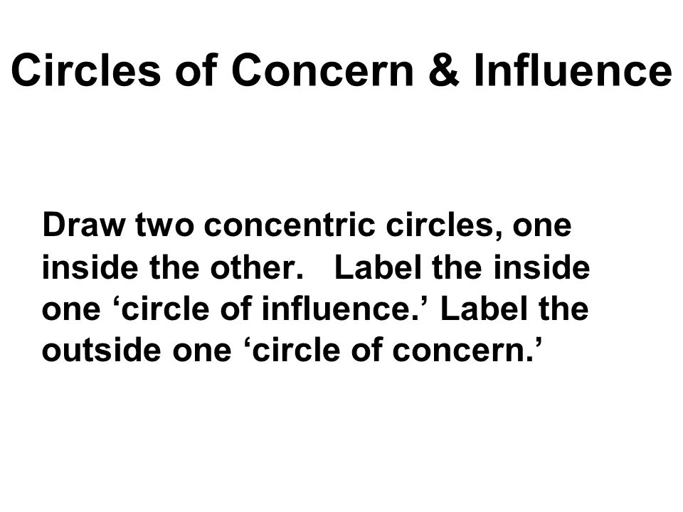 Circles of Concern & Influence