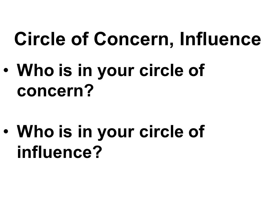 Circle of Concern, Influence