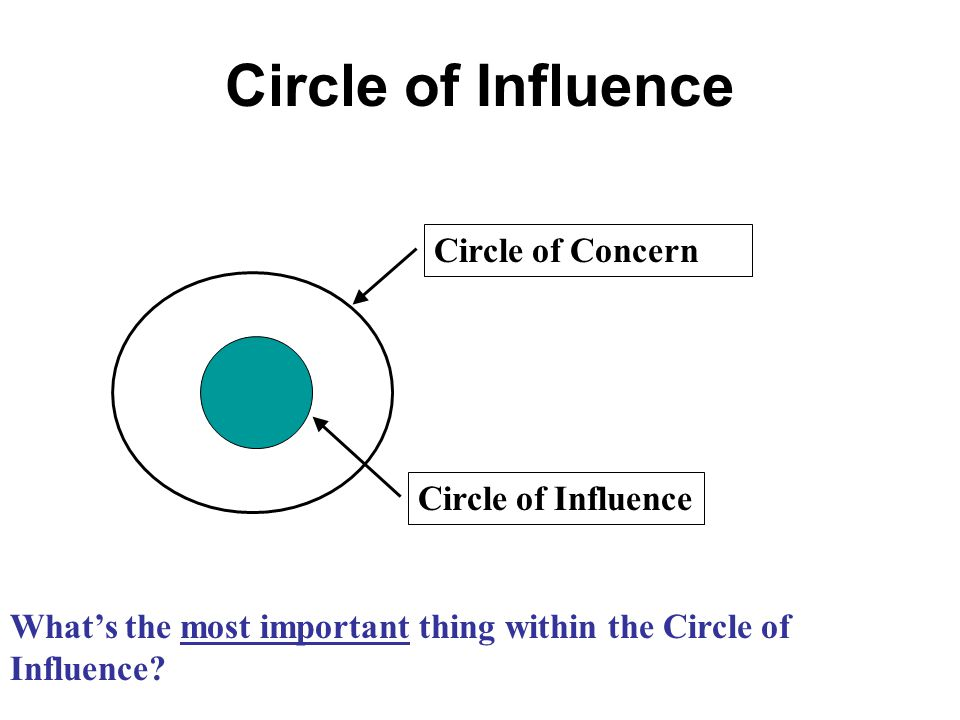 Circle of Influence Circle of Concern Circle of Influence