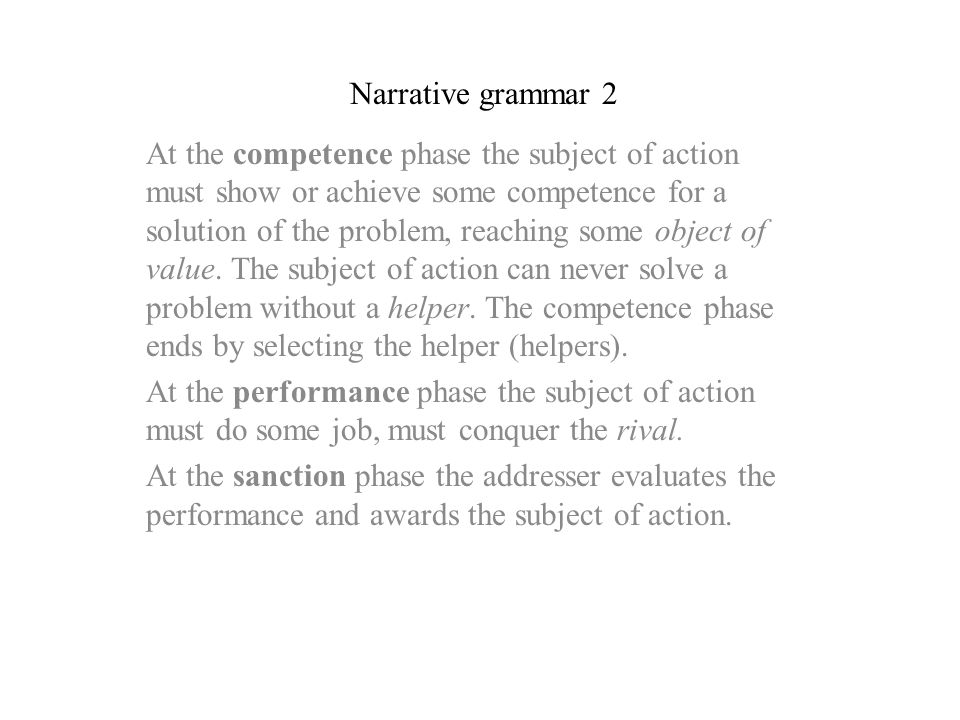 Narrative grammar 2