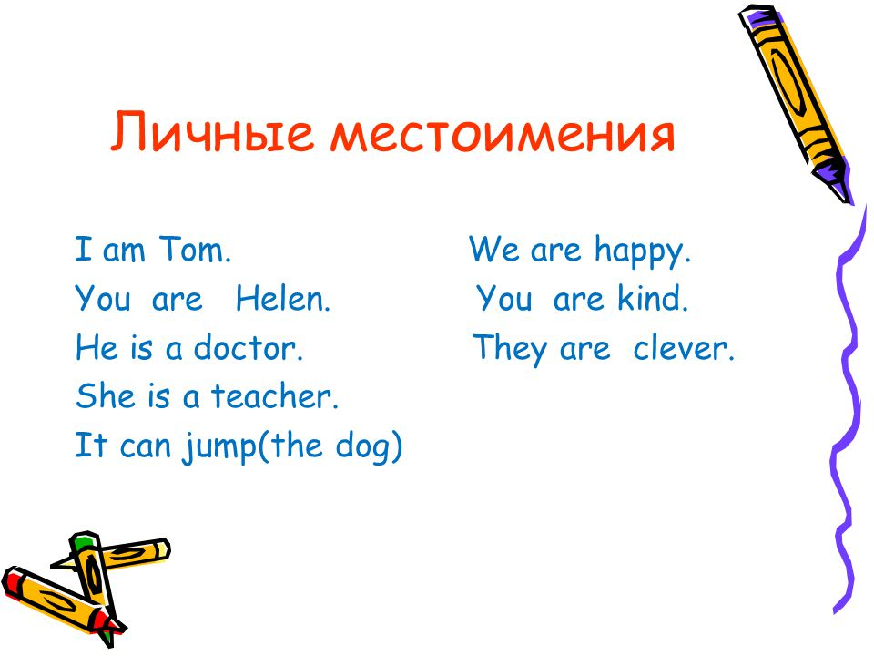Личные местоимения I am Tom. We are happy.