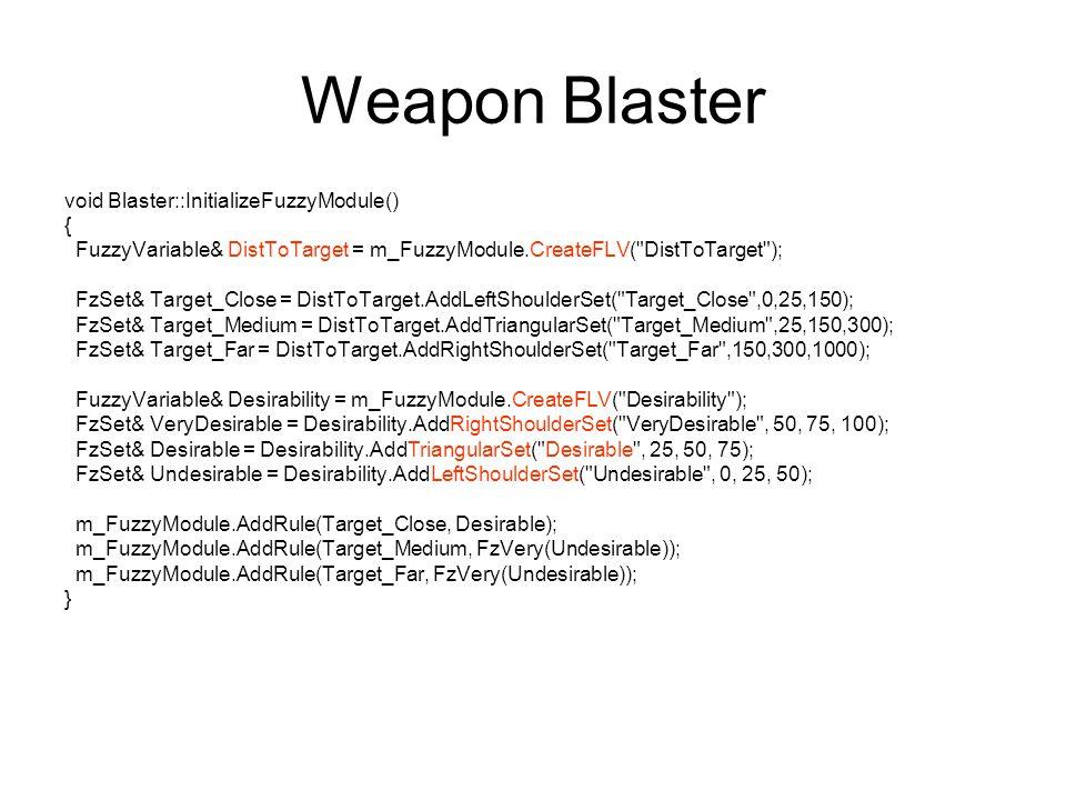 Weapon Blaster void Blaster::InitializeFuzzyModule() {