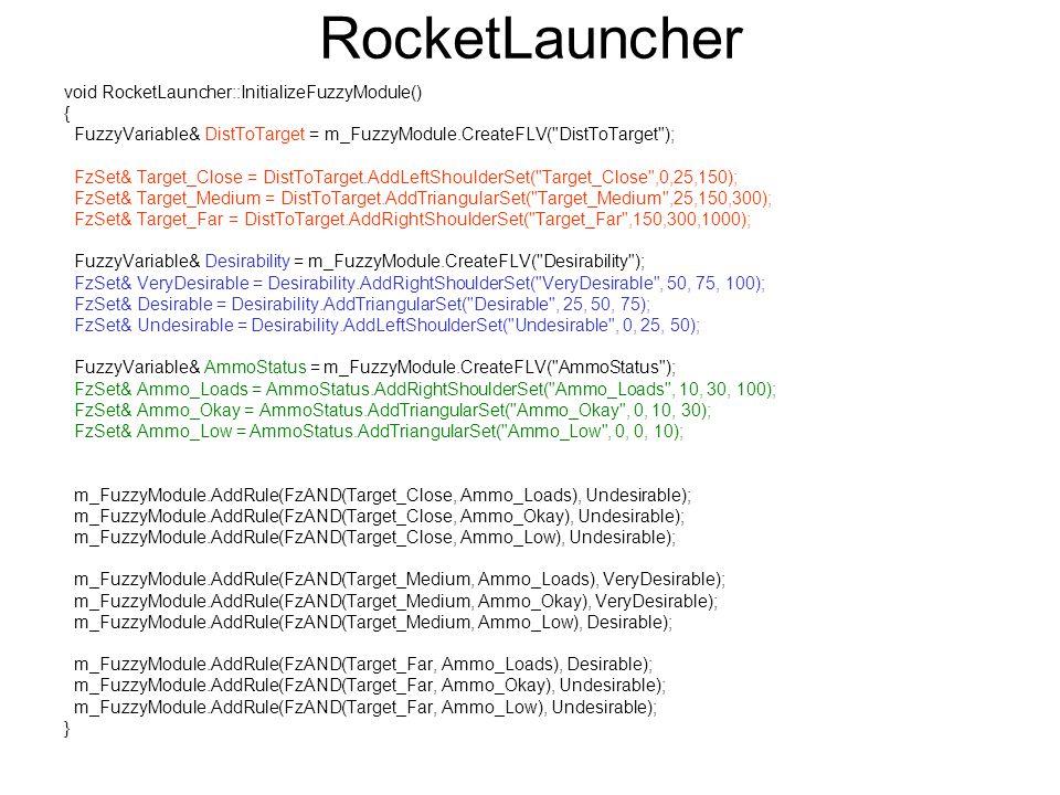 RocketLauncher void RocketLauncher::InitializeFuzzyModule() {