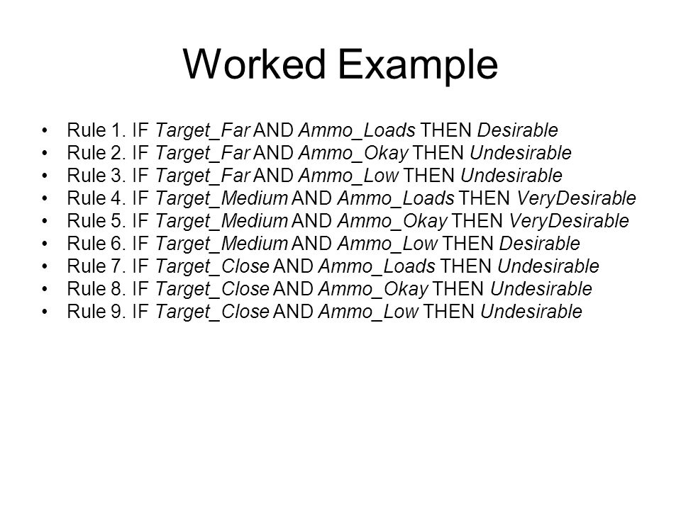 Worked Example Rule 1. IF Target_Far AND Ammo_Loads THEN Desirable