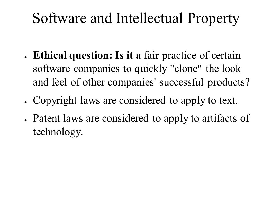 Software and Intellectual Property