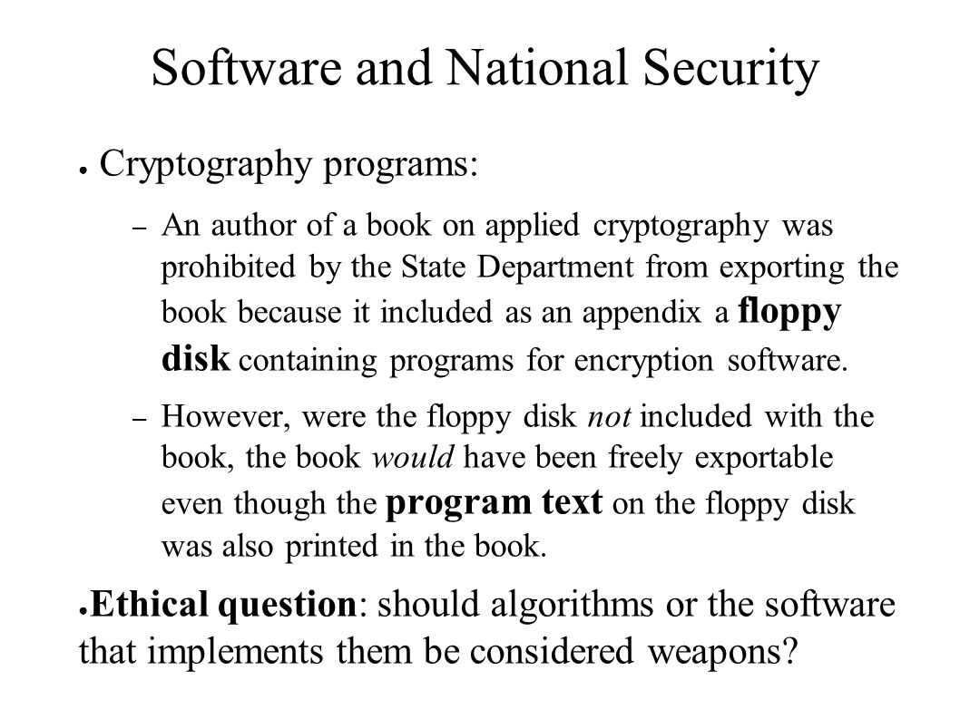 Software and National Security