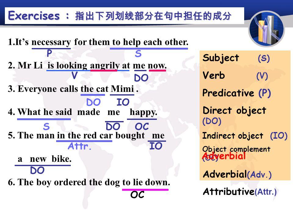 Exercises : 指出下列划线部分在句中担任的成分