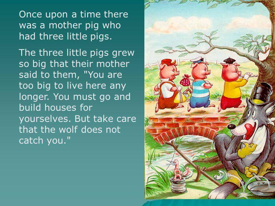 Once upon a time there was a mother pig who had three little pigs.