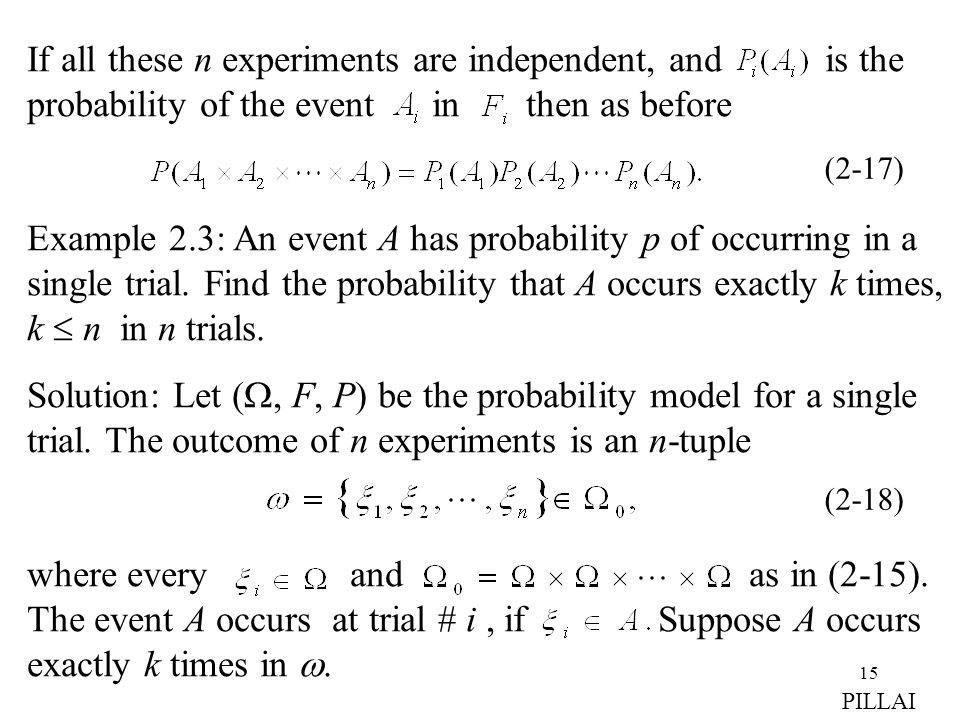 If all these n experiments are independent, and is the probability of the event in then as before