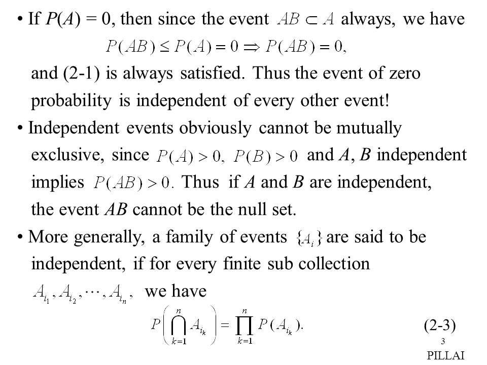 If P(A) = 0, then since the event always, we have