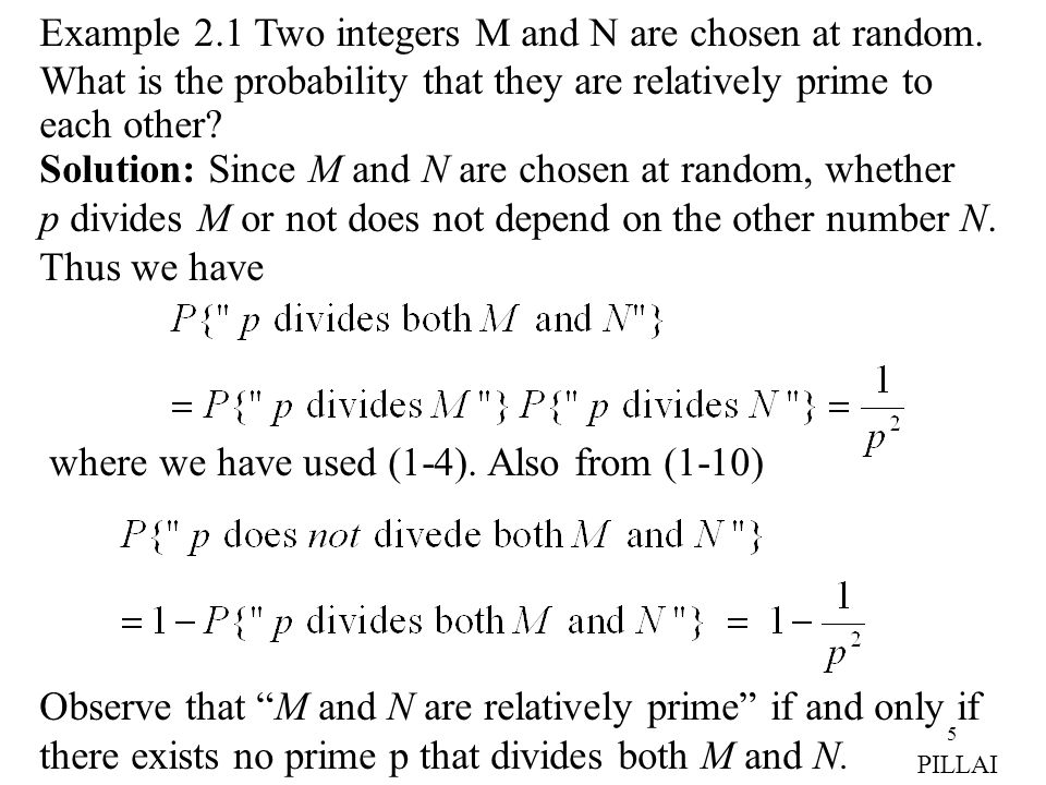 Example 2.1 Two integers M and N are chosen at random.