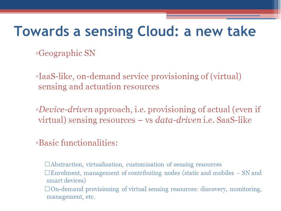 Towards a sensing Cloud: a new take