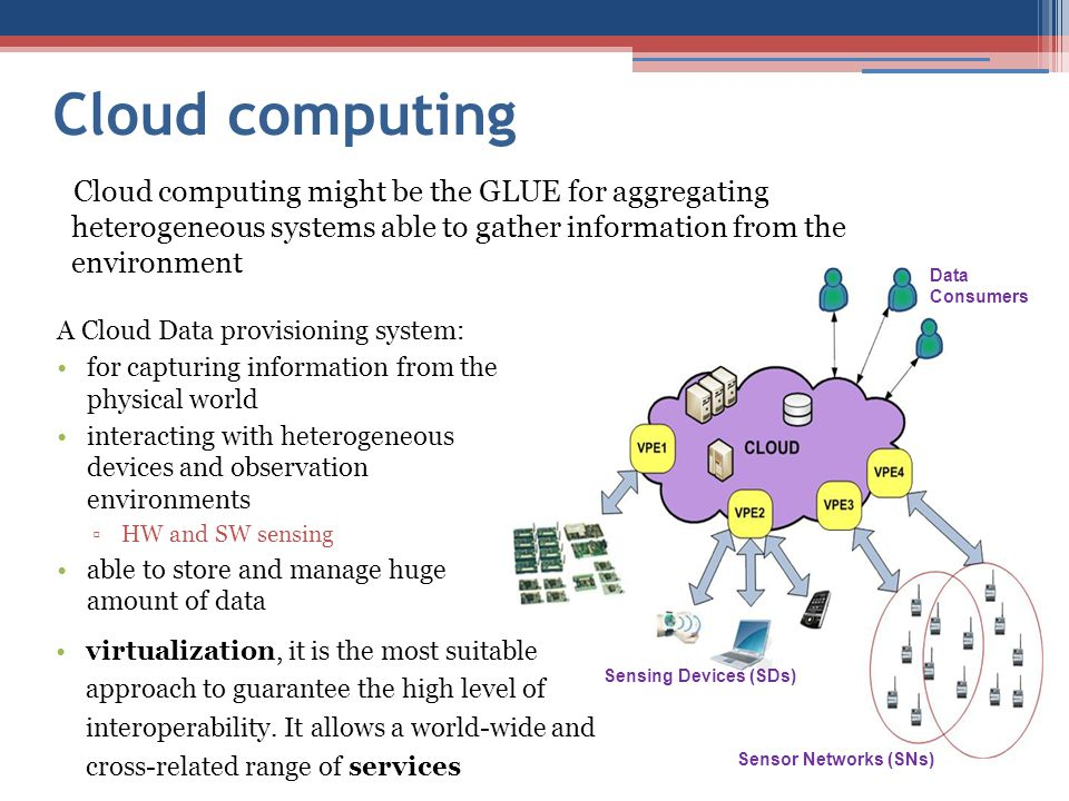 Cloud computing Cloud computing might be the GLUE for aggregating heterogeneous systems able to gather information from the environment.
