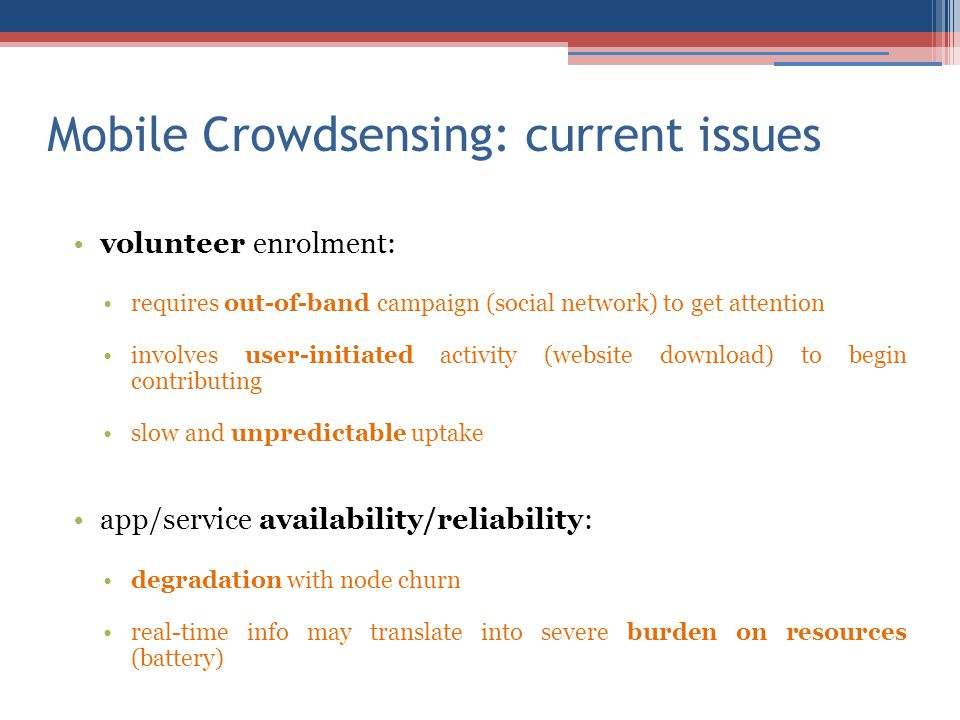 Mobile Crowdsensing: current issues