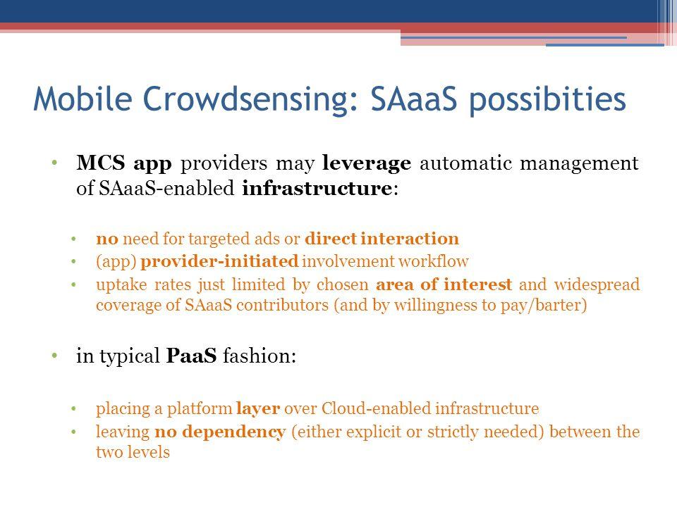 Mobile Crowdsensing: SAaaS possibities