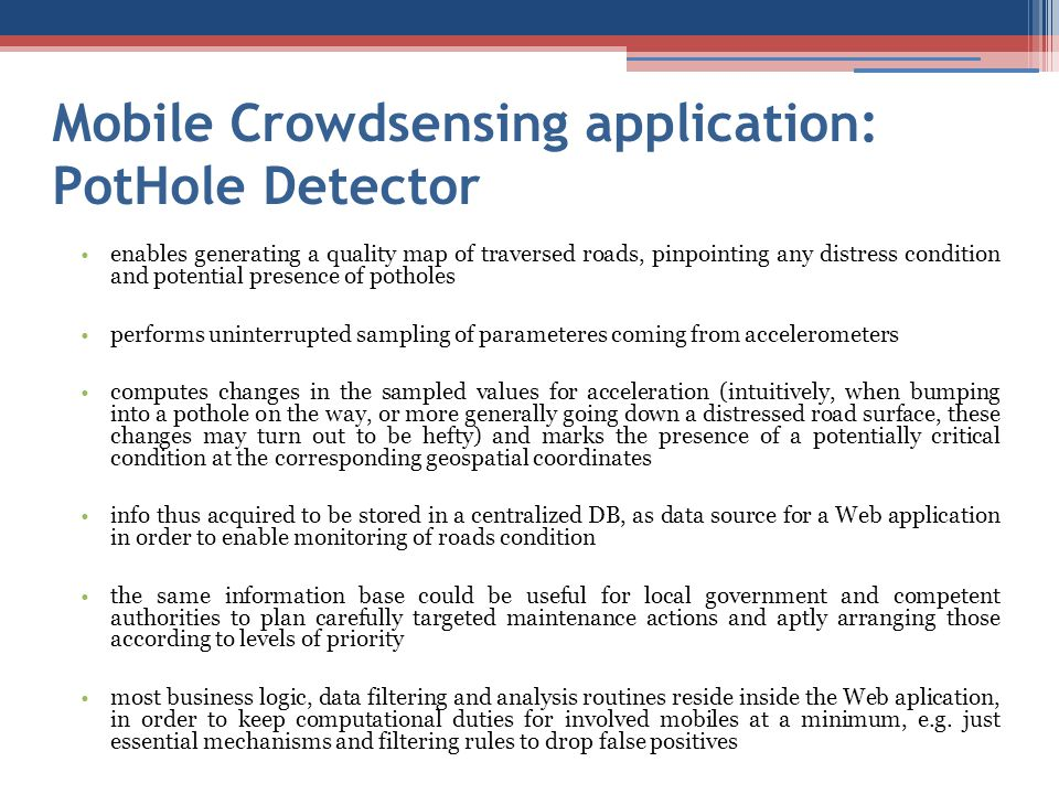 Mobile Crowdsensing application: PotHole Detector