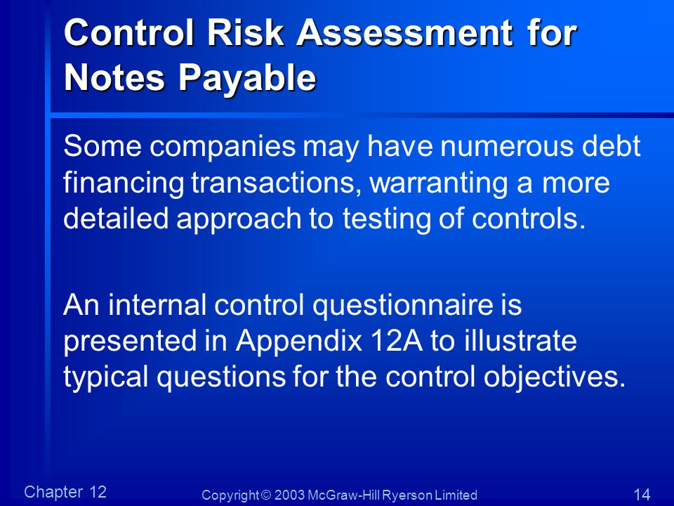 Control Risk Assessment for Notes Payable