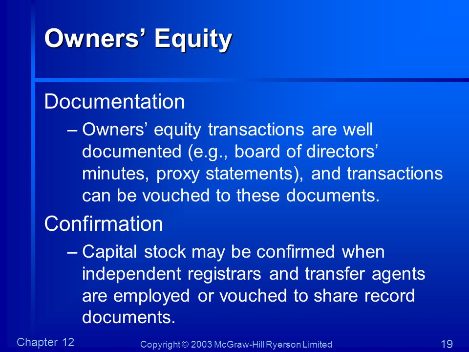 Owners' Equity Documentation Confirmation