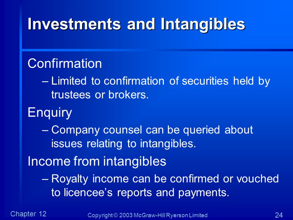 Investments and Intangibles