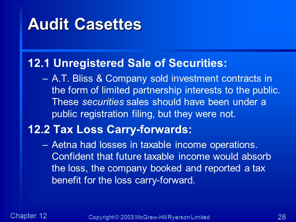 Audit Casettes 12.1 Unregistered Sale of Securities: