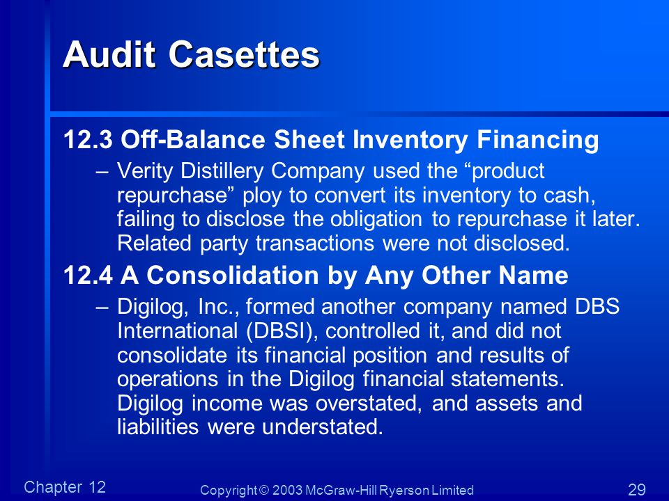 Audit Casettes 12.3 Off-Balance Sheet Inventory Financing