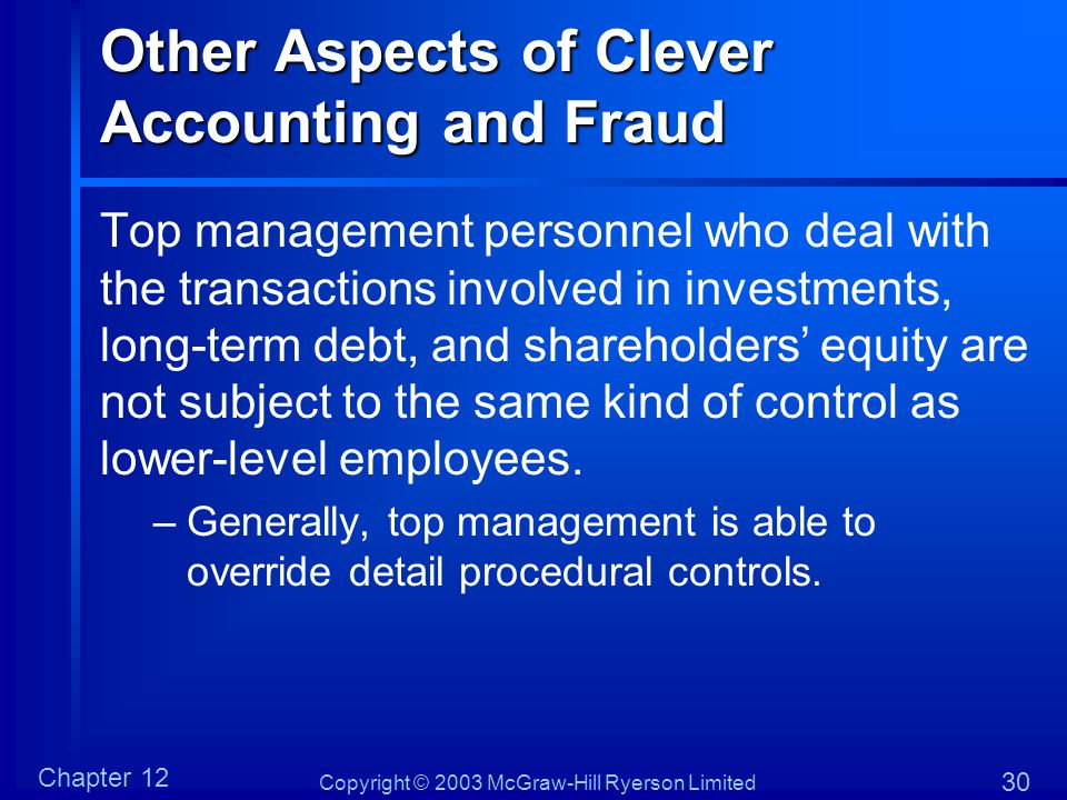 Other Aspects of Clever Accounting and Fraud