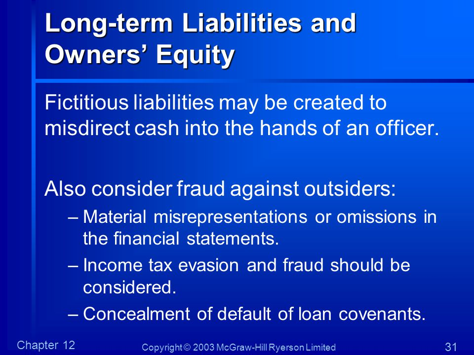 Long-term Liabilities and Owners' Equity