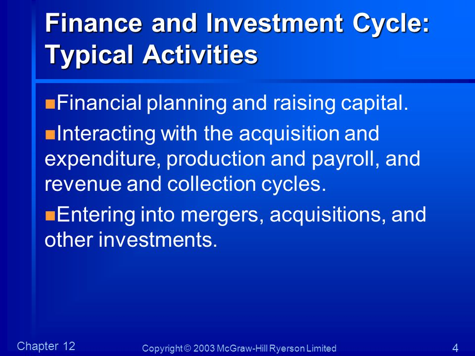 Finance and Investment Cycle: Typical Activities